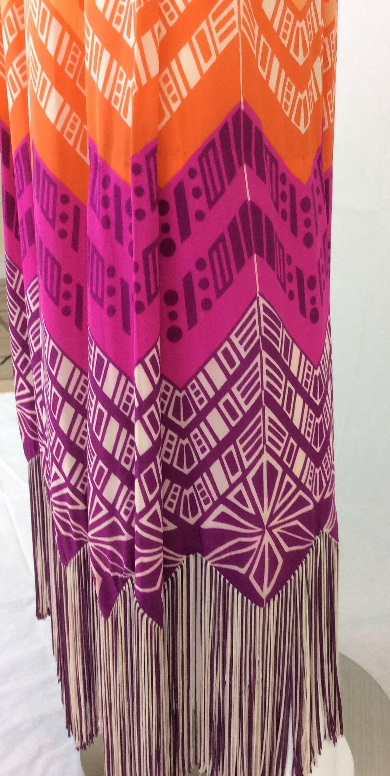 1970s Lanvin Couture Rainbow Fringe Maxi Skirt 5