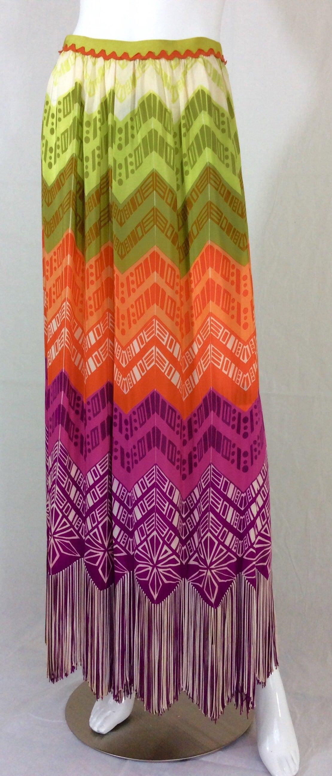 1970s Lanvin Couture Rainbow Fringe Maxi Skirt 6