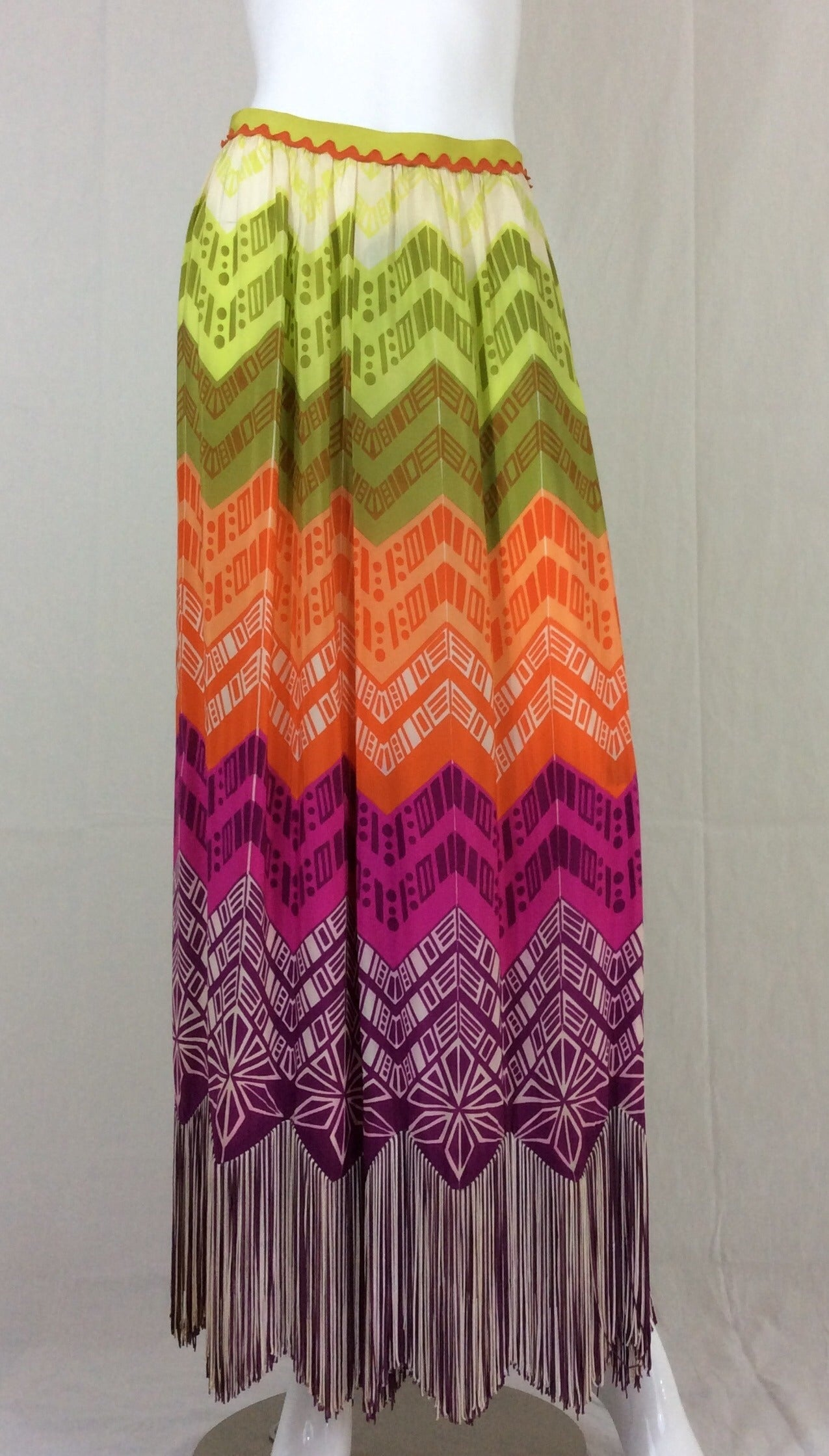 1970s Lanvin Couture Rainbow Fringe Maxi Skirt 7