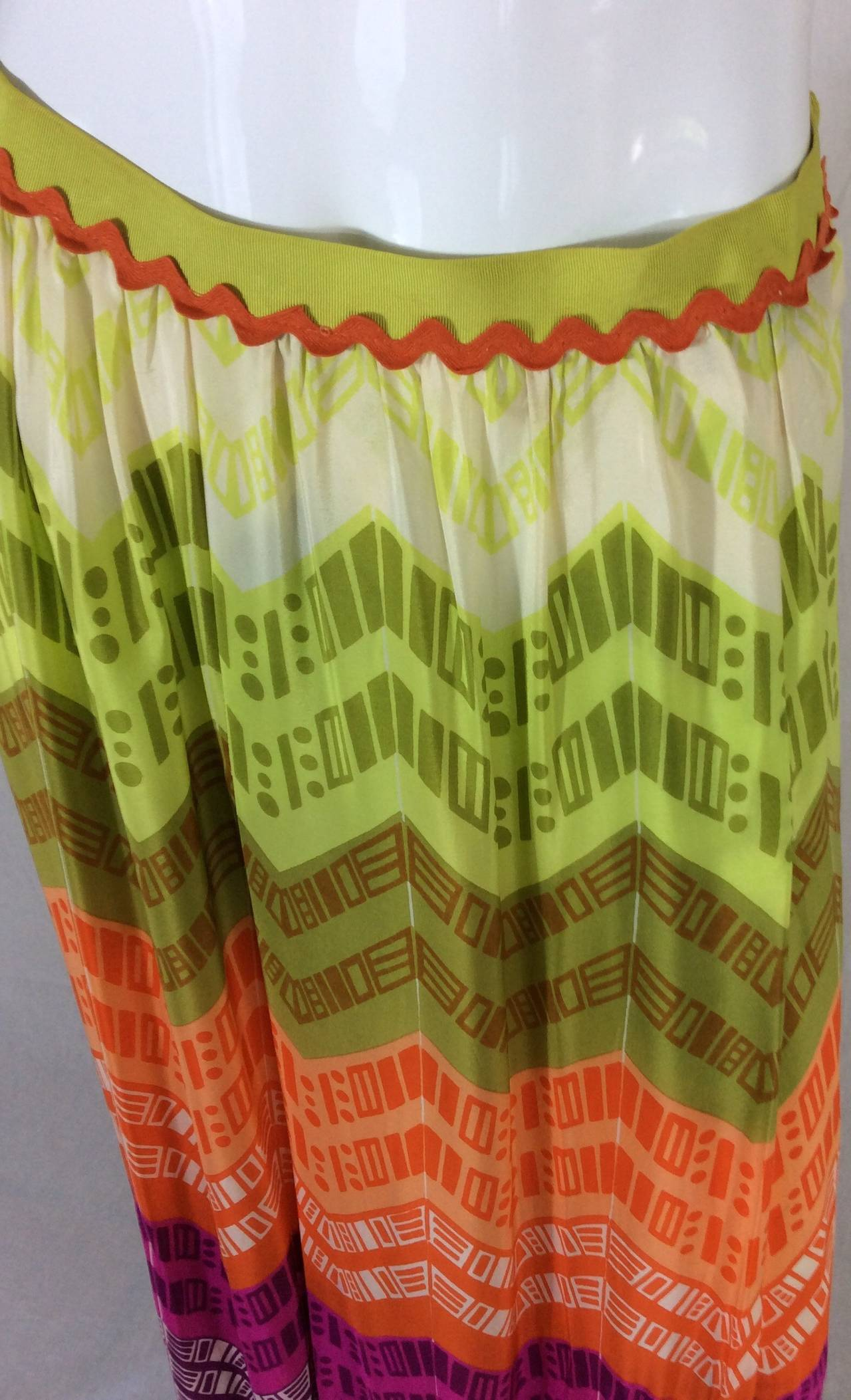 1970s Lanvin Couture Rainbow Fringe Maxi Skirt 8