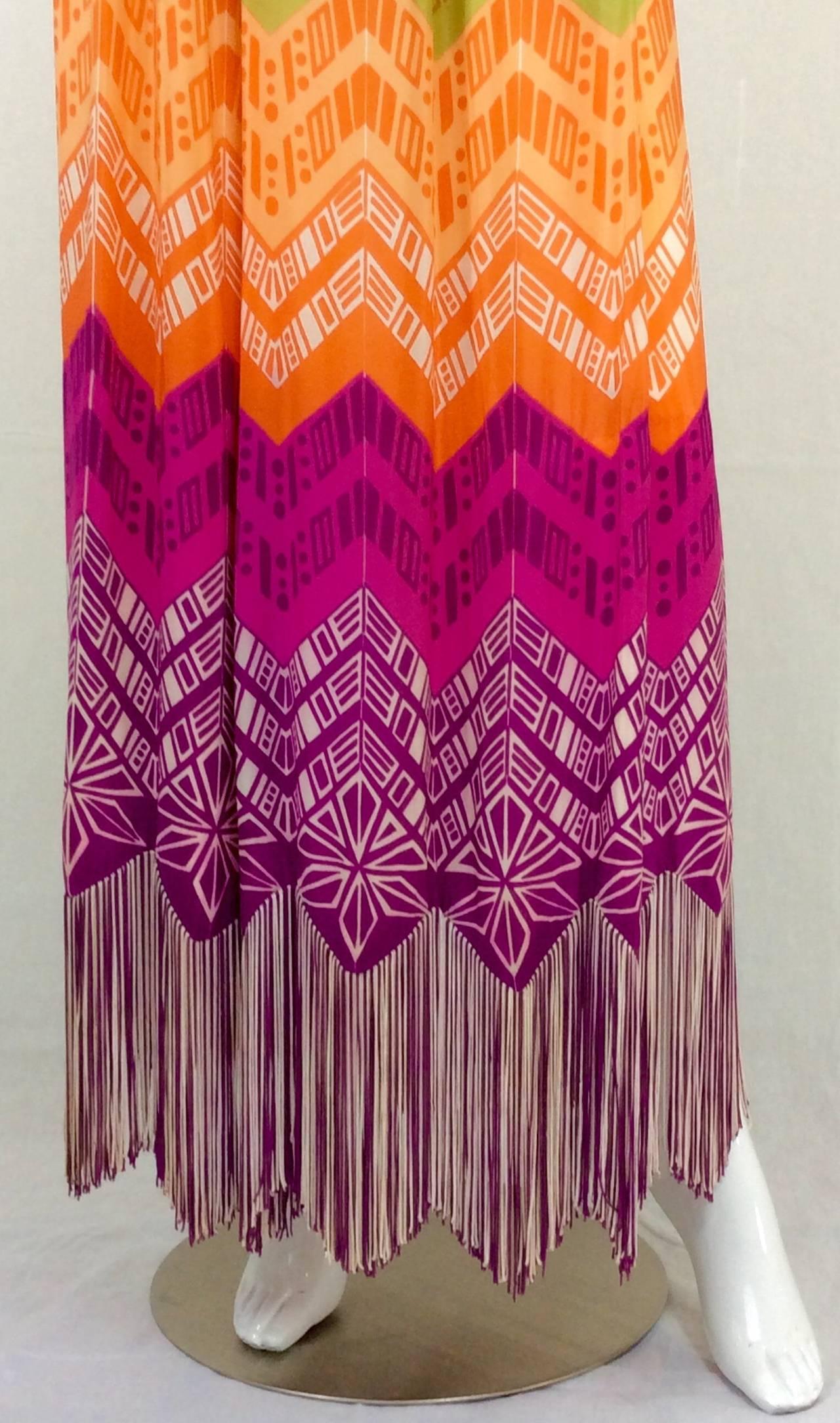 1970s Lanvin Couture Rainbow Fringe Maxi Skirt 9