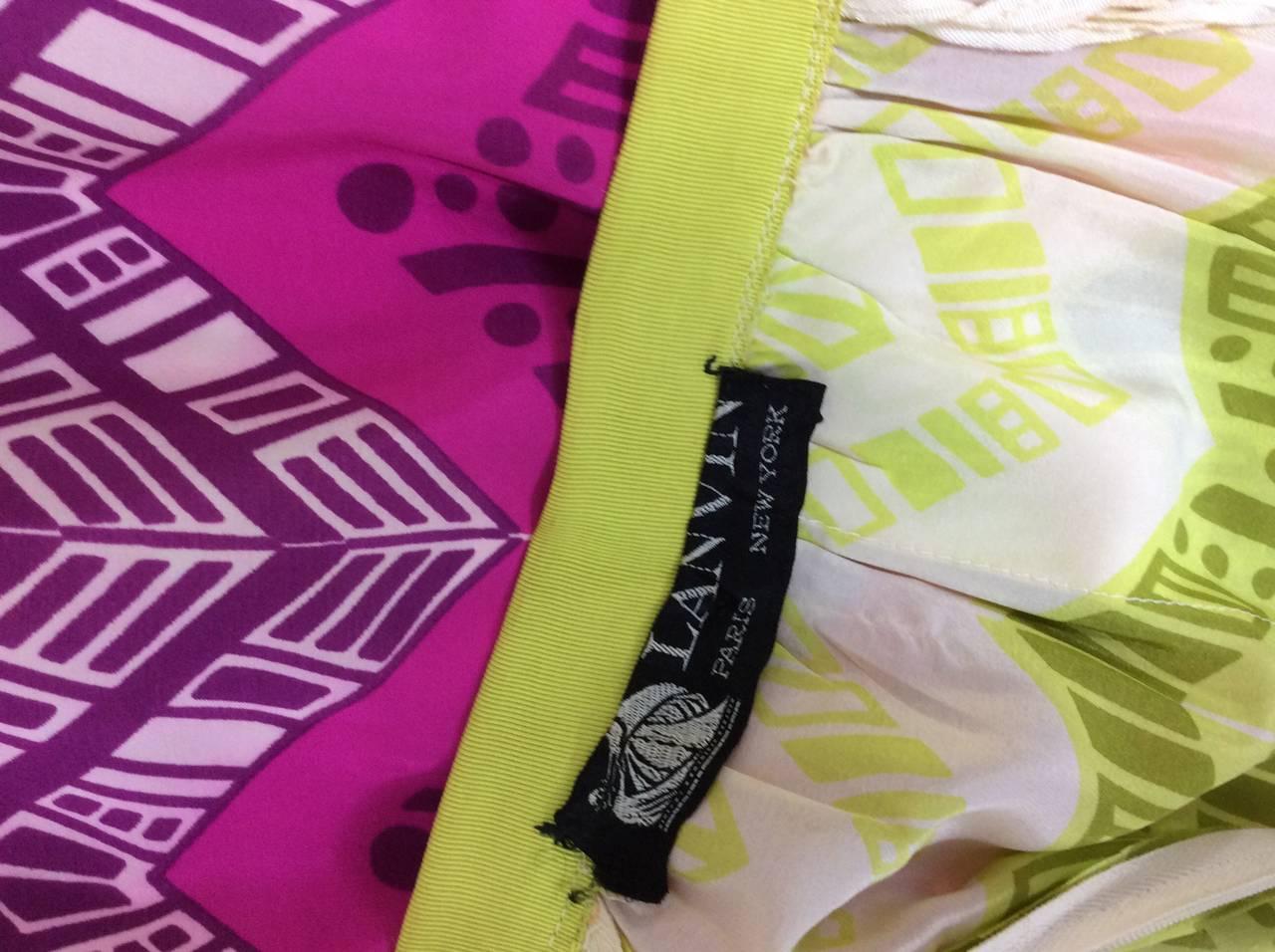 1970s Lanvin Couture Rainbow Fringe Maxi Skirt 10