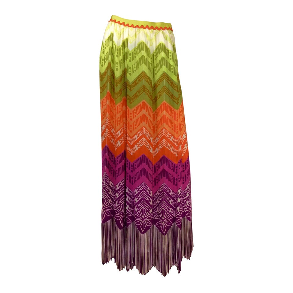 1970s Lanvin Couture Rainbow Fringe Maxi Skirt 1
