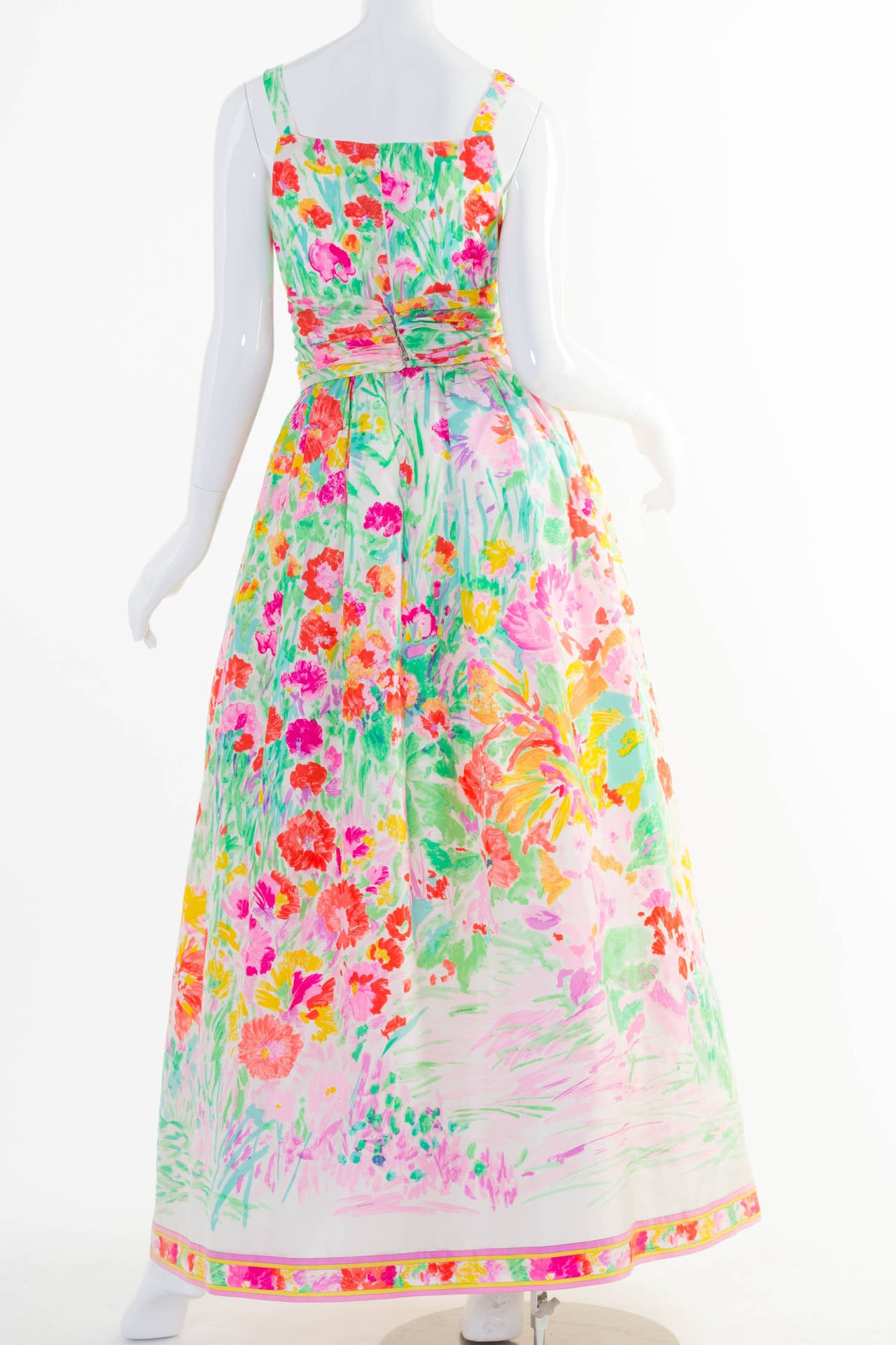 1990s Fabulous Leonard Paris Silk Floral Print Party Dress Gown 2