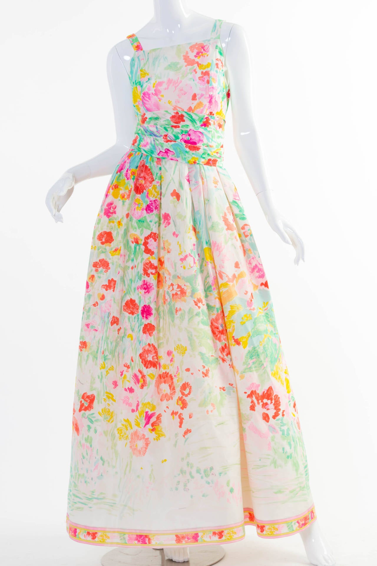 1990s Fabulous Leonard Paris Silk Floral Print Party Dress Gown For Sale 2