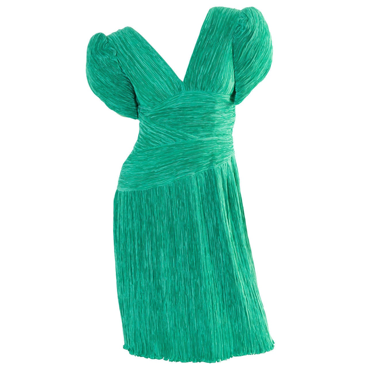 1980s Mary McFadden Couture Green Pleated Sculpted Short Sleeve Dress