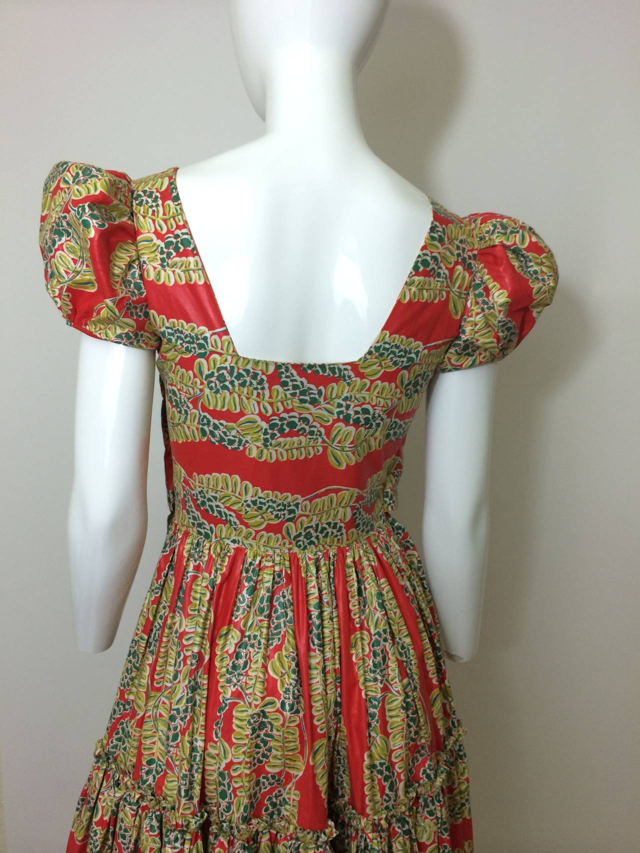 1940s  Polished Cotton Floral Print Short Puff Sleeve Maxi Dress For Sale 1