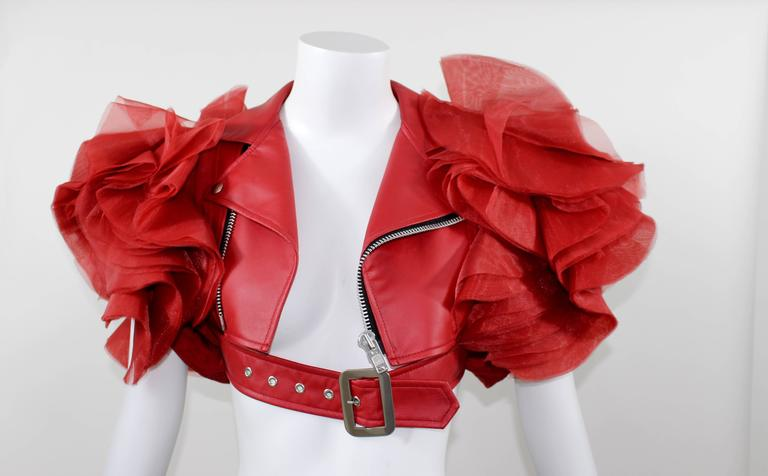 Junya Watanabe Comme Des Garcons Red Faux Leather Ruffle Jacket 2