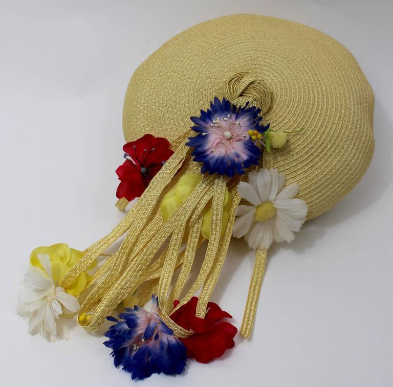 Brown Vintage Yves Saint Laurent Floral Beret/ hat For Sale