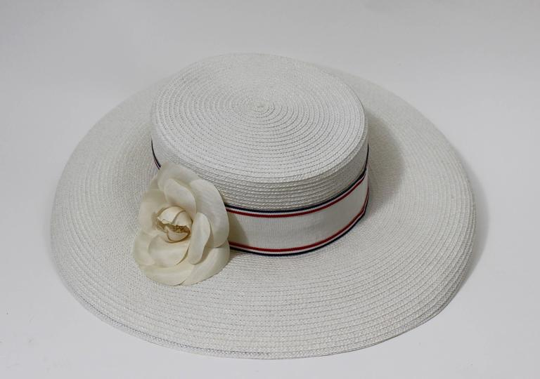Vintage Chanel White Hat w/ Camellia Flower & Ribbon Trim 2