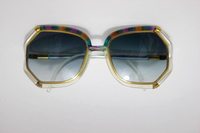 Gray 1970s Ted Lapidus Rainbow Frame Sunglasses & Shades For Sale