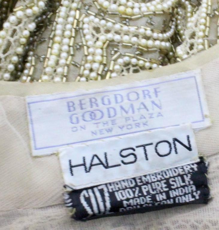 1970s Halston Hand Embroidered Beads & Golden Pearl Silk Organza Jacket 10