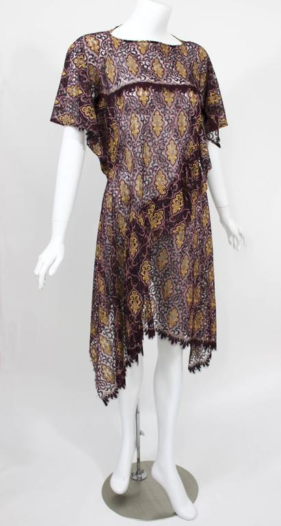 Junya Watanabe Comme des Garcons Burgundy Purple Gold Lace Kimono Sleeve Dress In Excellent Condition For Sale In Boca Raton, FL