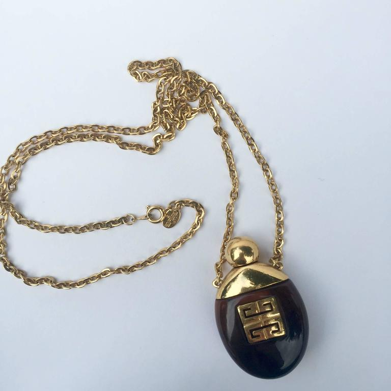 Givenchy Vintage Perfume Bottle Necklace Gold-Toned Link Chain Tortoise, 1970s  7