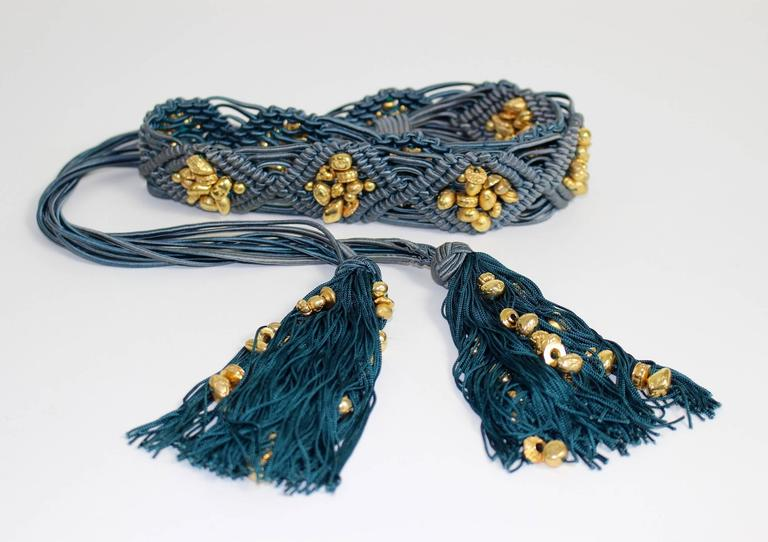 Yves Saint Laurent YSL Vintage Passementerie Gold Nugget Beads Tassel Belt  2