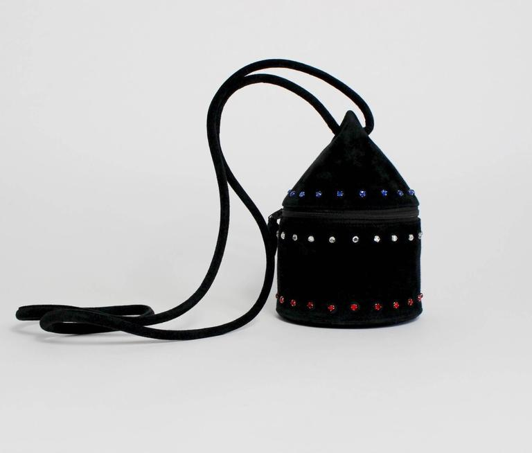 1980s Maud Frizon Sculptural Black Suede Jeweled Minaudiere Shoulder Bag For Sale 4