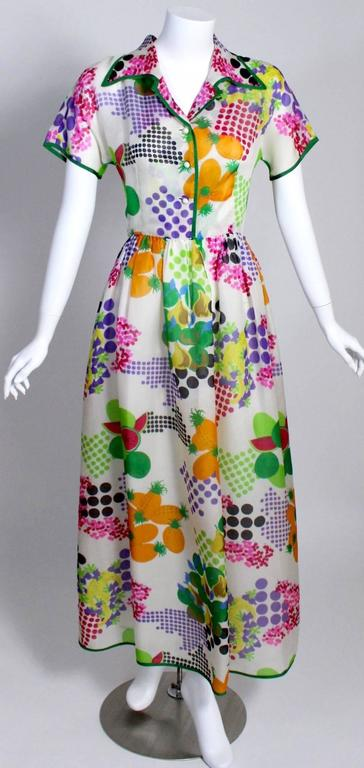 Nina Ricci Boutique Fruit and Dots Multicolor Print Silk Organza Dress, 1970s  In Excellent Condition For Sale In Boca Raton, FL