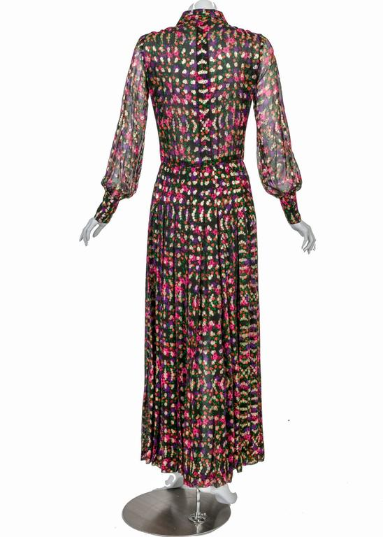 Women's Chanel Haute Couture Vintage Silk Chiffon Dress no 4550, 1975   For Sale