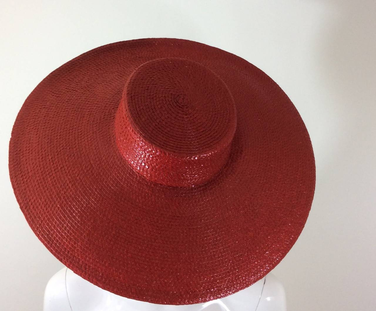 Vintage Givenchy Boutique Glossy Straw Red Hat 2