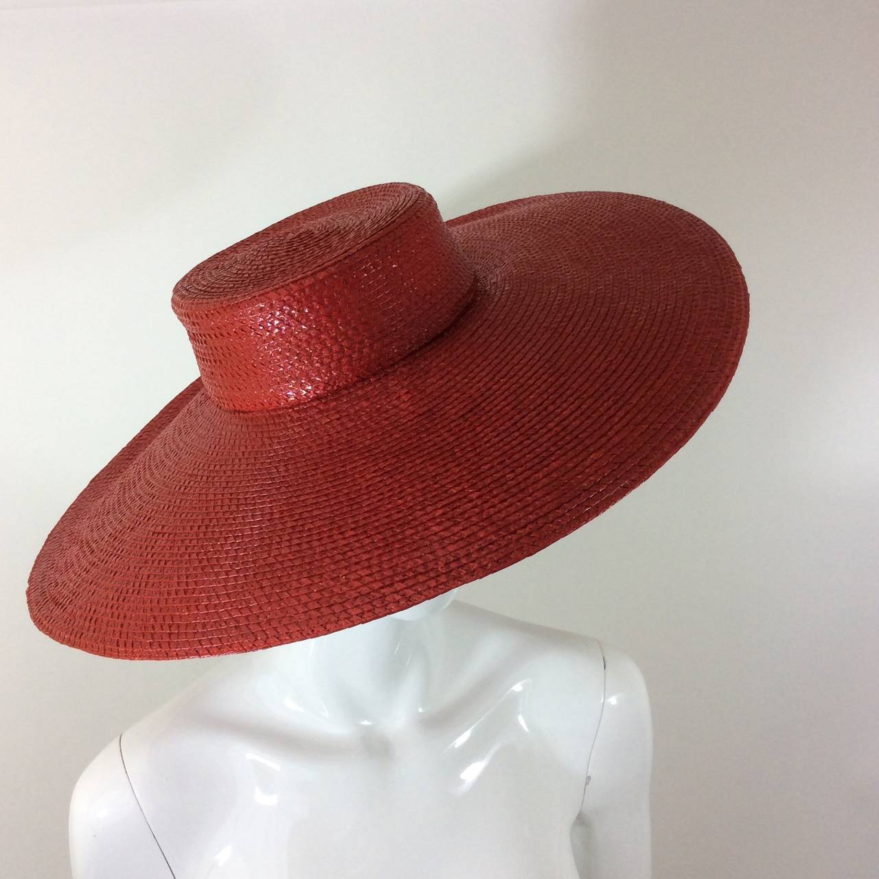 Vintage Givenchy Boutique Glossy Straw Red Hat 3