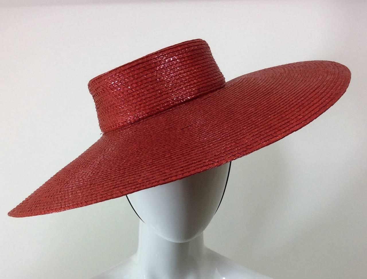 Vintage Givenchy Boutique Glossy Straw Red Hat 4
