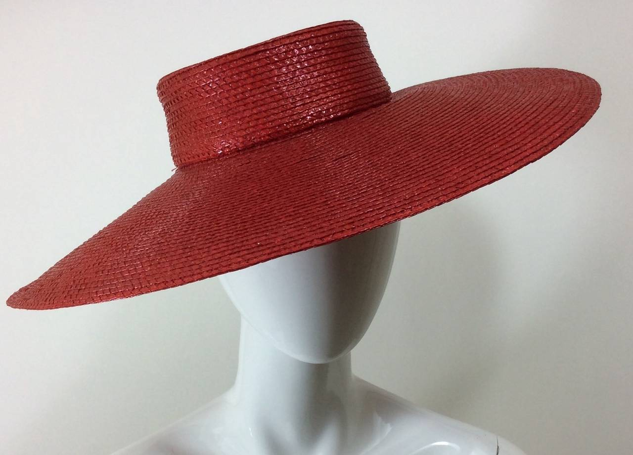 Vintage Givenchy Boutique Glossy Straw Red Hat 6