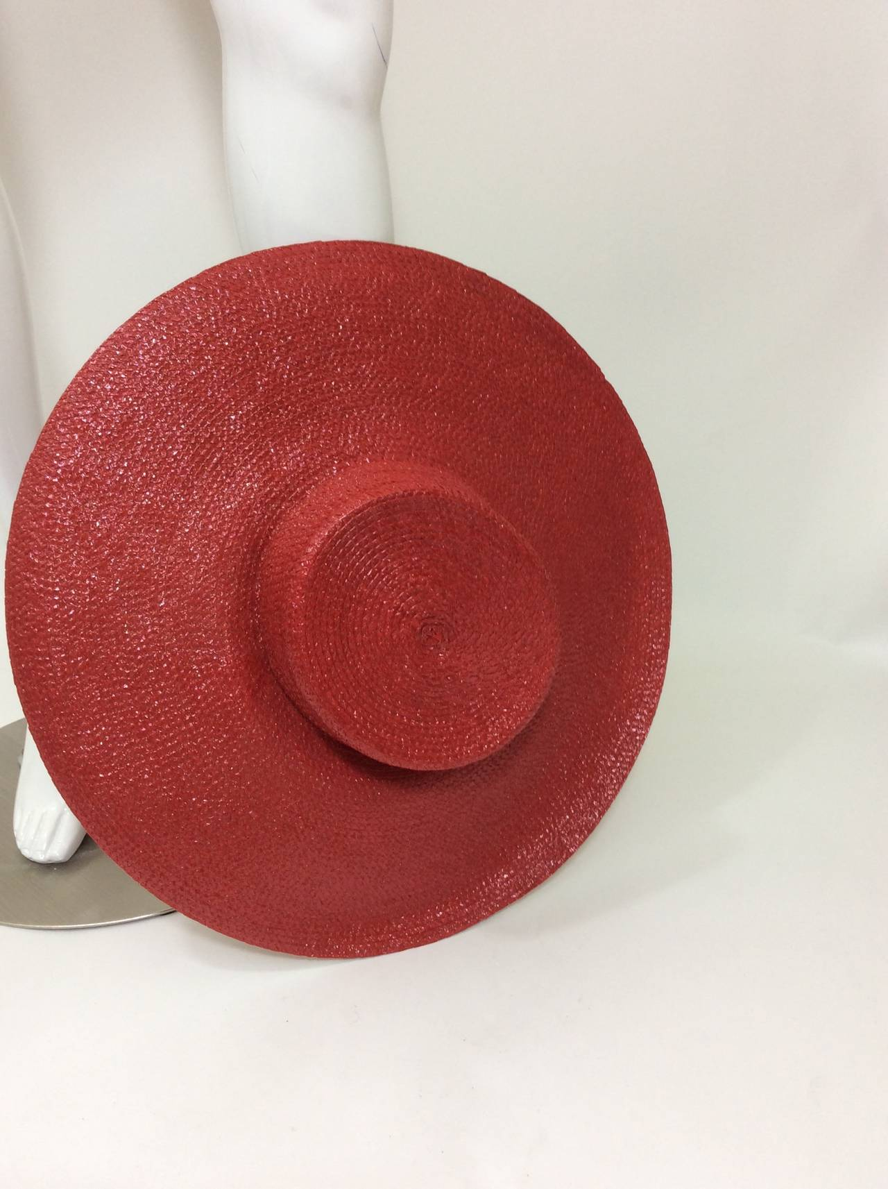 Vintage Givenchy Boutique Glossy Straw Red Hat 7