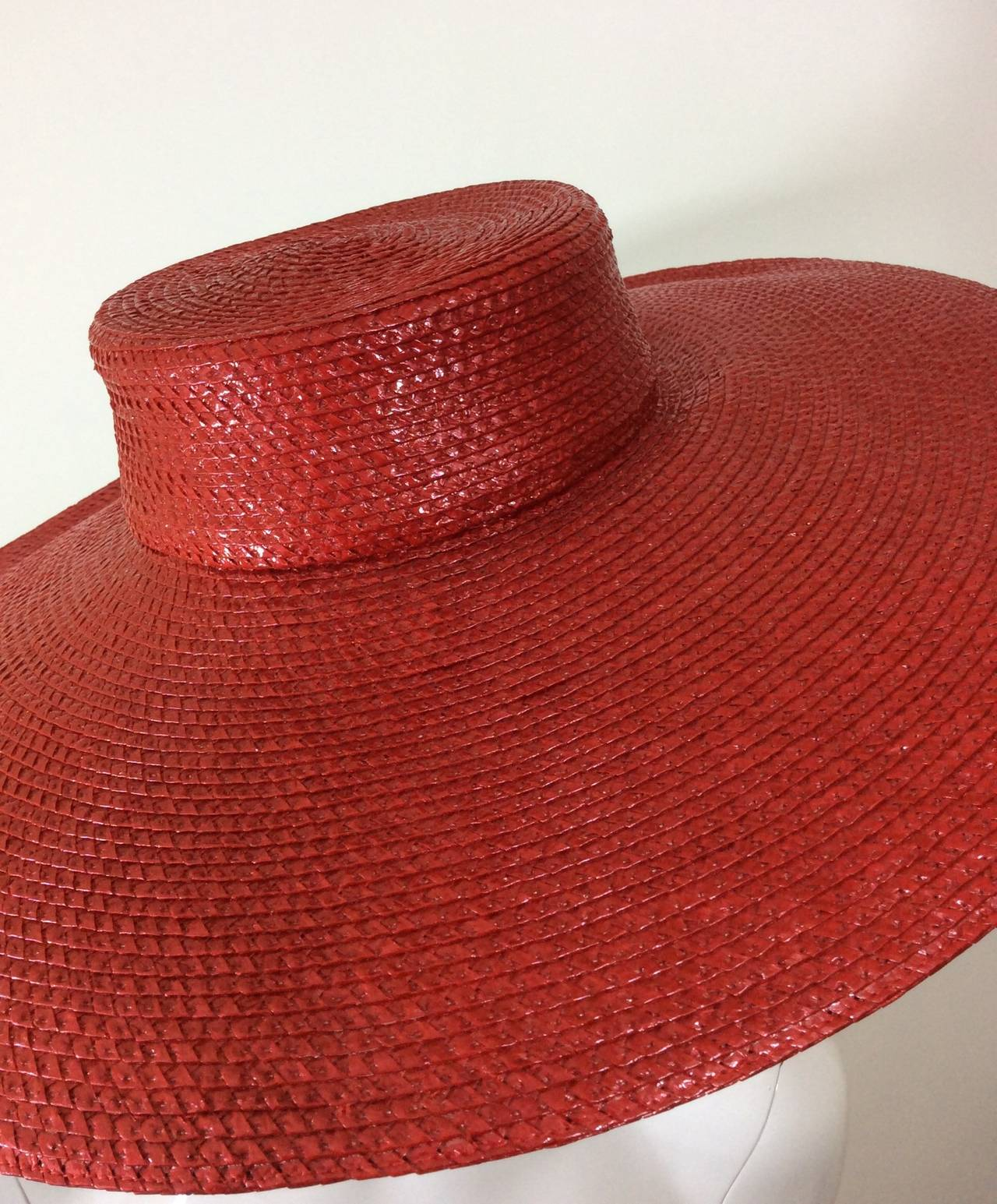 Vintage Givenchy Boutique Glossy Straw Red Hat 5