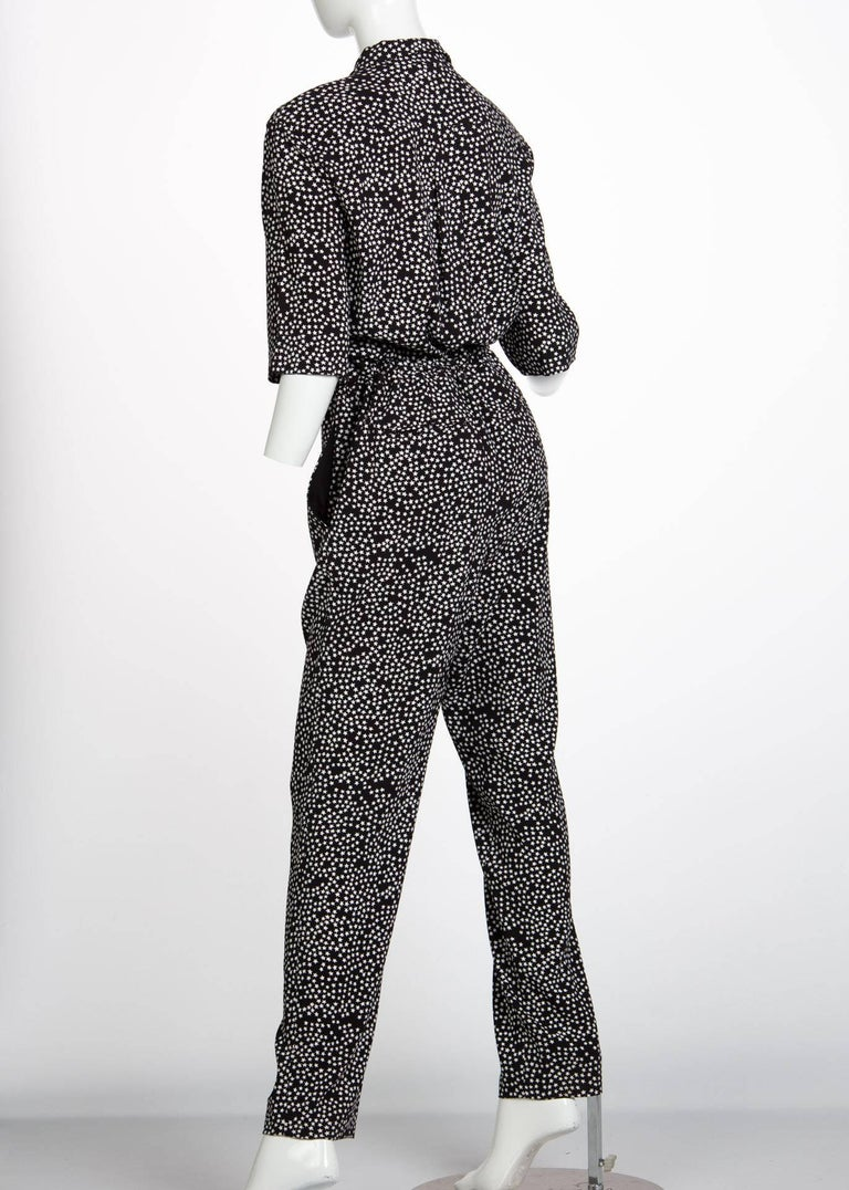 Sonia Rykiel Black and White Star Printed Drawstring Jumpsuit, 2015  For Sale 1