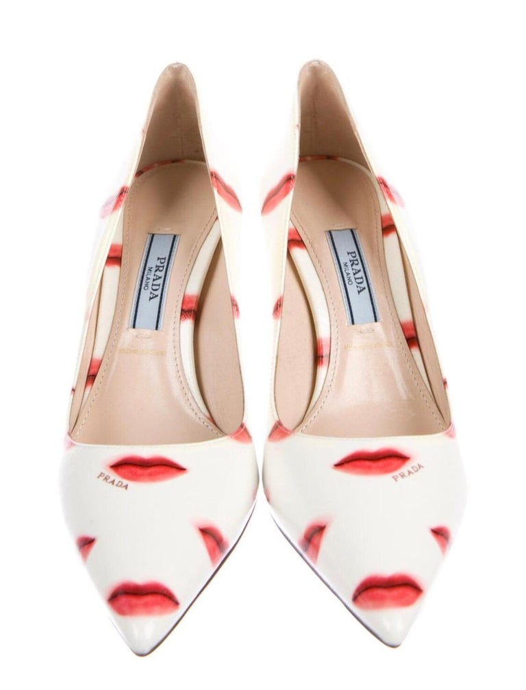 Prada Saffiano Leather Red Ivory Lip Point Toe Pumps Heels Shoes For Sale 4