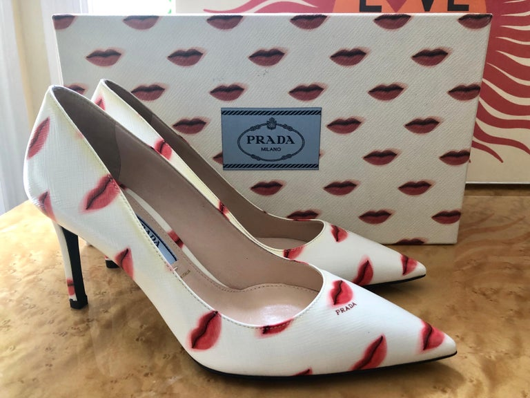 White Prada Saffiano Leather Red Ivory Lip Point Toe Pumps Heels Shoes For Sale
