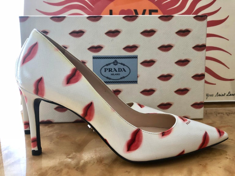 Iconic Prada lip print heels.  Unworn, and comes with the collectable lip print shoe box.  These shoes were special ordered at the Prada Made-To-Order Tour at Saks Fifth Avenue in 2016.  Size: 34.5 Italian, 4.5 U.S Heels: 3 inches Insole: about 9
