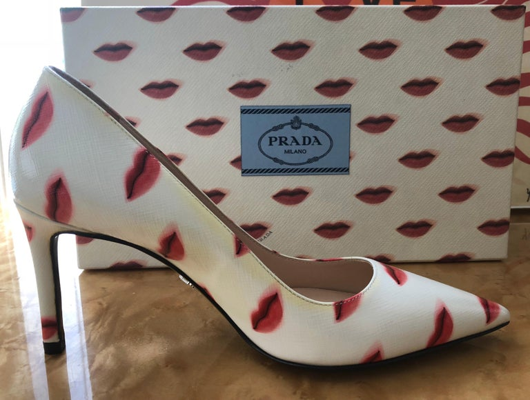 Prada Saffiano Leather Red Ivory Lip Point Toe Pumps Heels Shoes For Sale 1