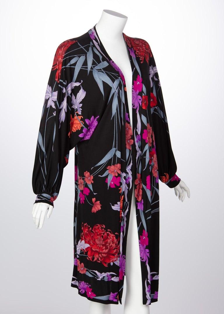 Black 1970s Leonard Paris Floral Silk Jersey Dress Jacket For Sale