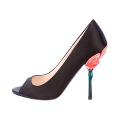 Prada Fairy Collection Black Satin Peep Toe Sculpted Flower Heel Shoes 34.5