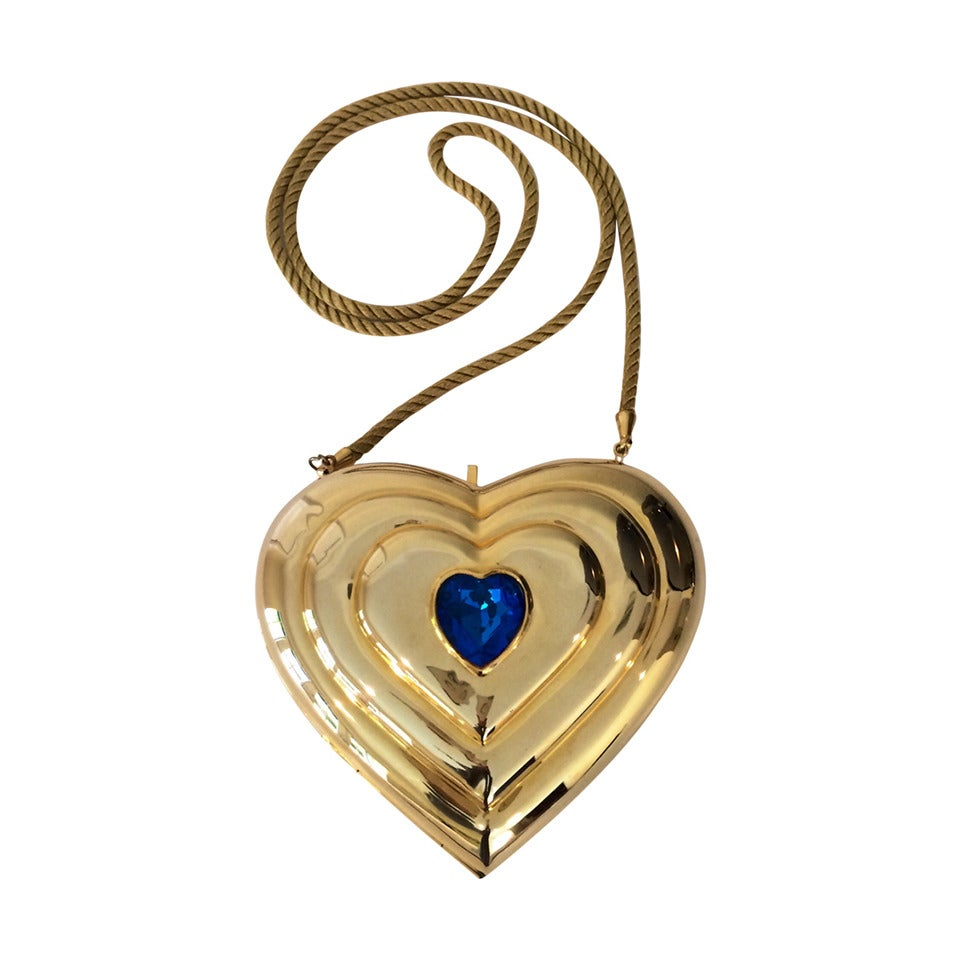 YSL / Yves Saint Laurent Heart Shaped Gold & Sapphire Crystal Minaudiere Bag 1