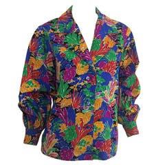 "Yves Saint Laurent Colorful ""Matisse"" Print Blouse Top"