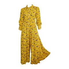 1970s Galanos Yellow Floral Print Palazzo Pant Jumpsuit