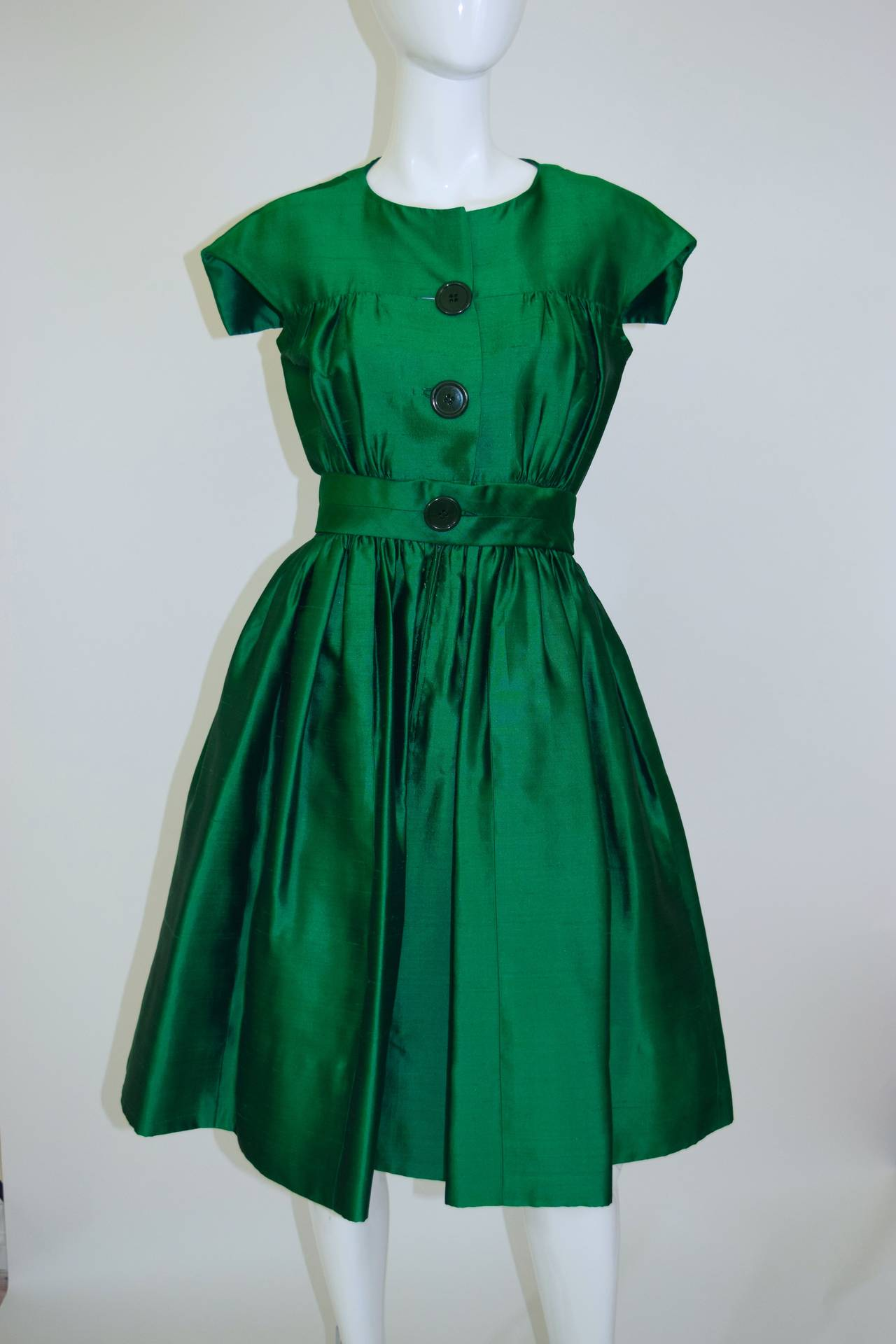1950's Henri Bendel Gorgeous Emerald Green Silk Party ...