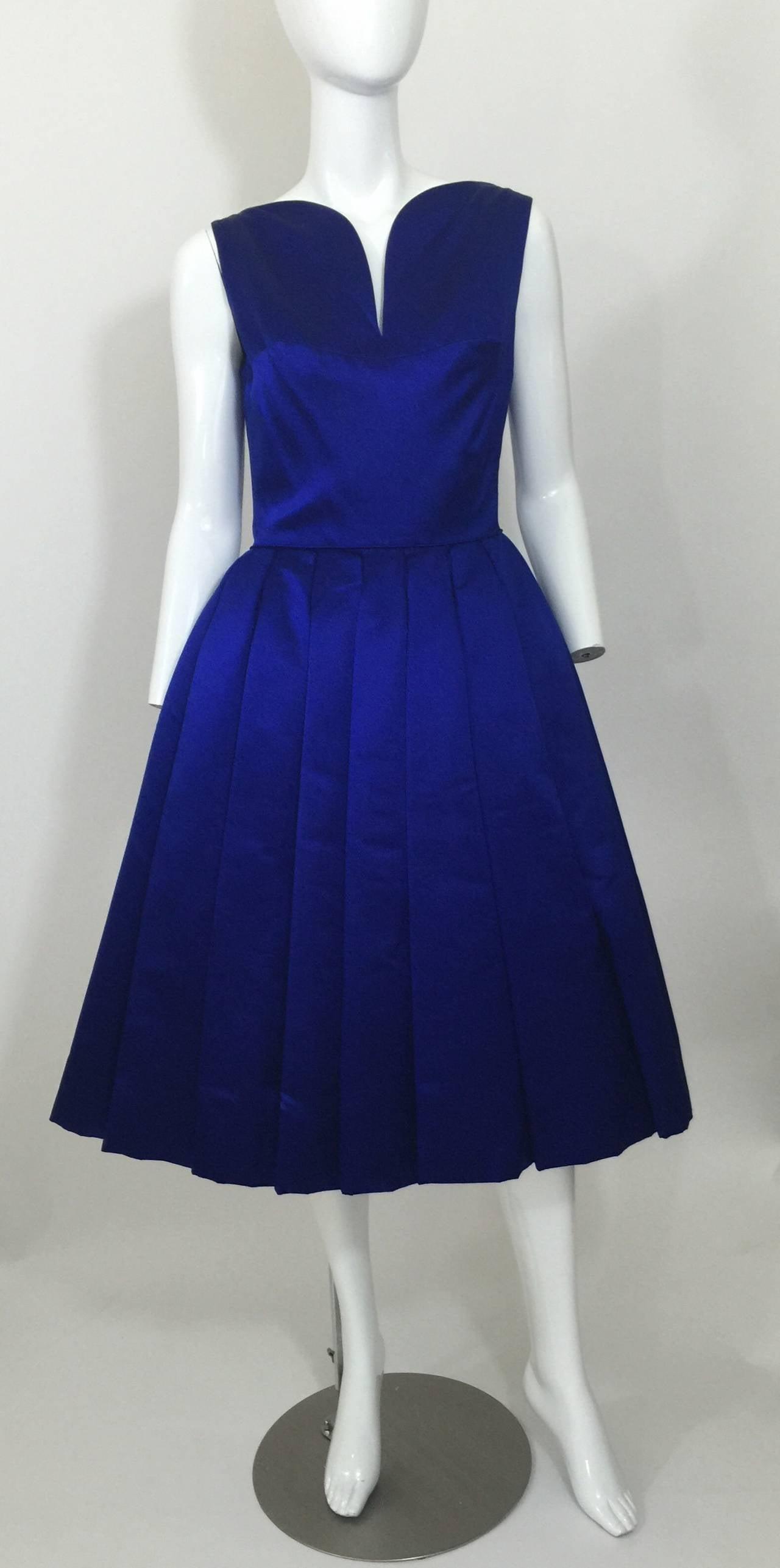 1950's Whitney for  Bonwit Teller Royal Blue Silk Satin Full Skirt  Party Dress 2