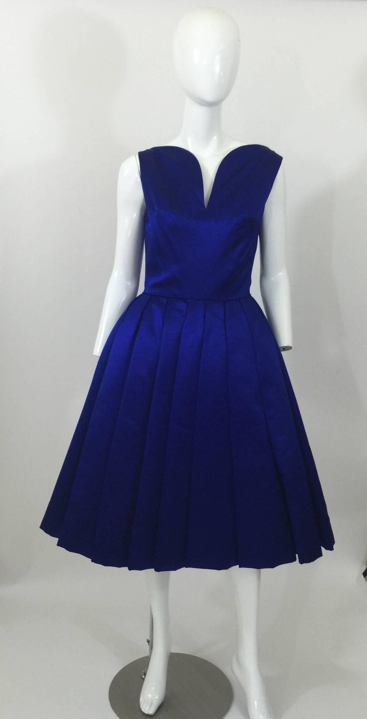 1950's Whitney for  Bonwit Teller Royal Blue Silk Satin Full Skirt  Party Dress 3