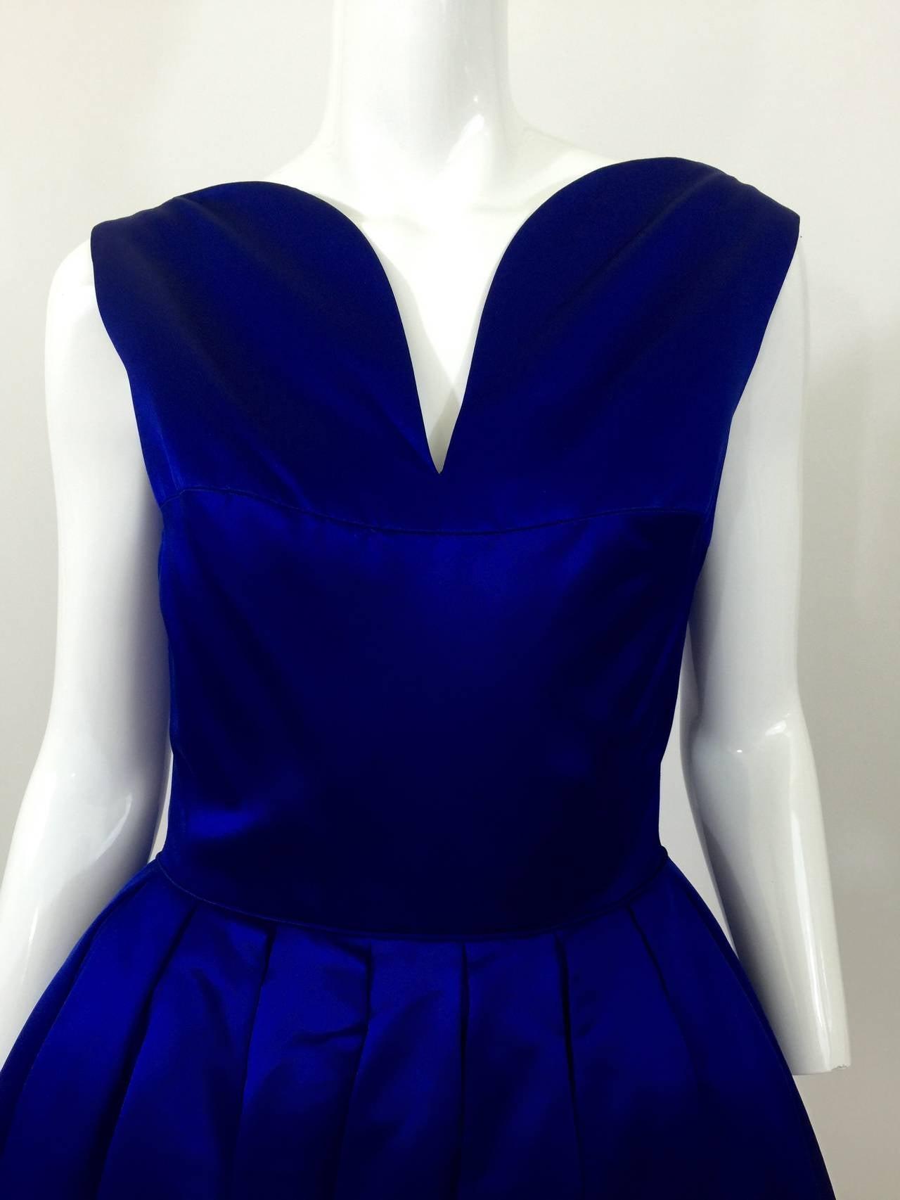 1950's Whitney for  Bonwit Teller Royal Blue Silk Satin Full Skirt  Party Dress 4