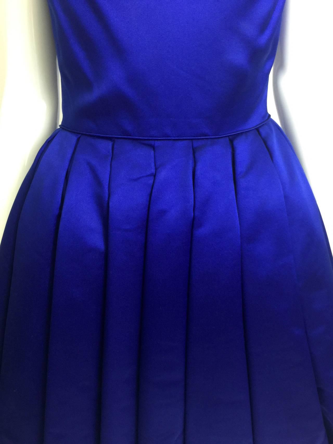 1950's Whitney for  Bonwit Teller Royal Blue Silk Satin Full Skirt  Party Dress 5