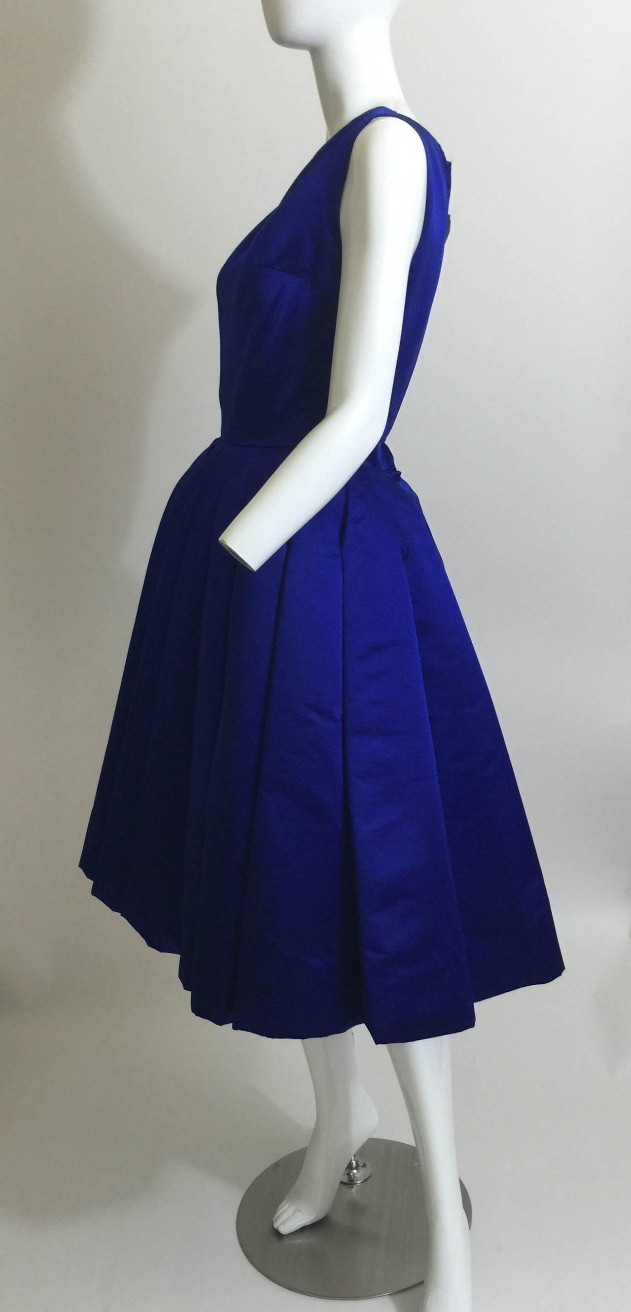 1950's Whitney for  Bonwit Teller Royal Blue Silk Satin Full Skirt  Party Dress 6