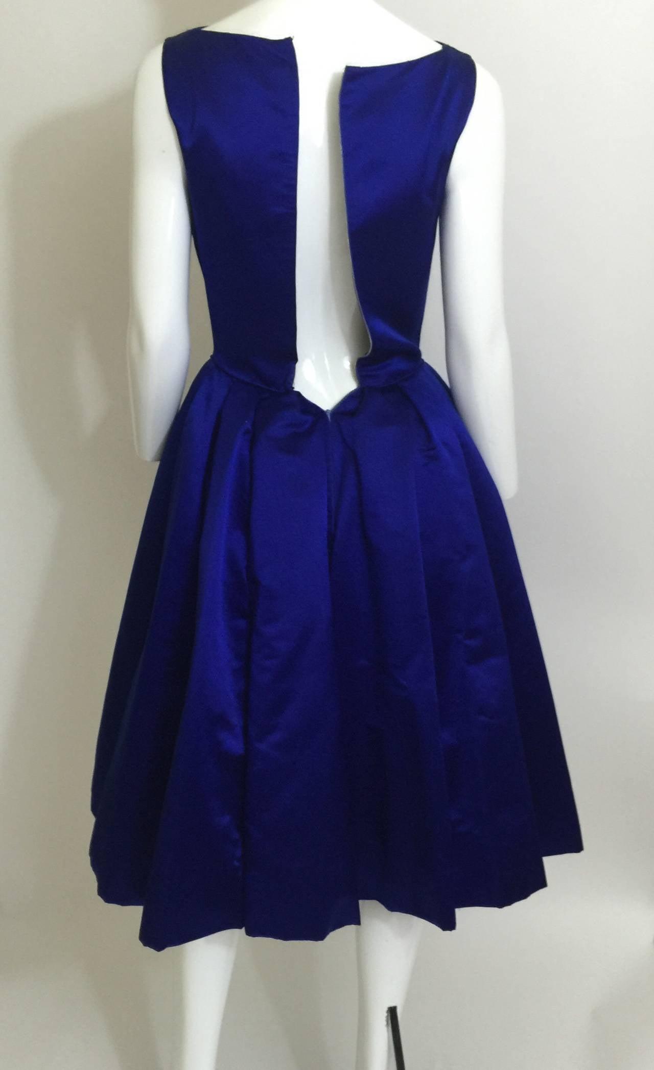 1950's Whitney for  Bonwit Teller Royal Blue Silk Satin Full Skirt  Party Dress 7
