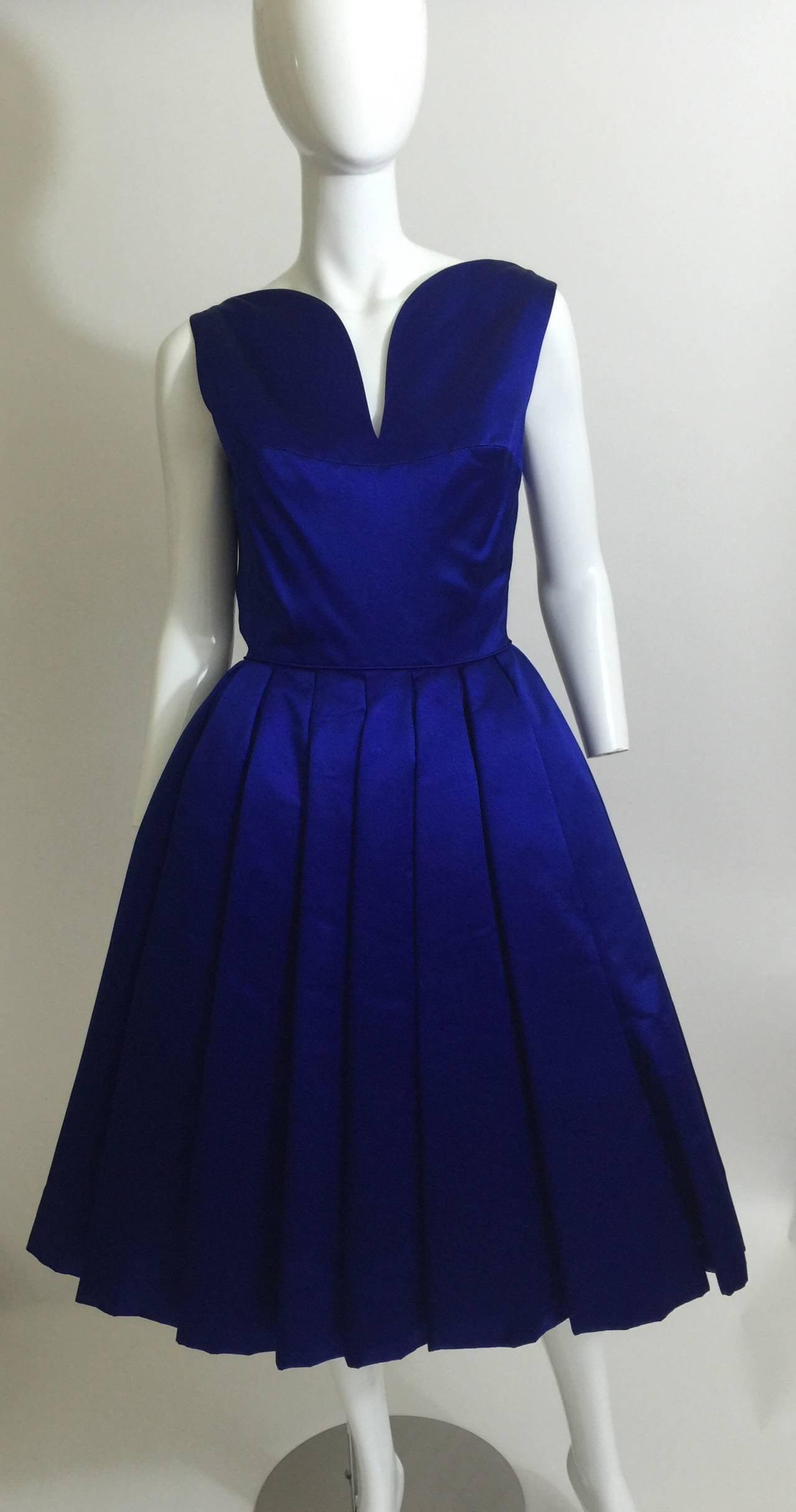 1950's Whitney for  Bonwit Teller Royal Blue Silk Satin Full Skirt  Party Dress 8