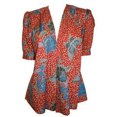 1970s Yves Saint Laurent  Vintage Floral and Butterfly Print Blouse & Jacket