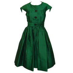 1950's Henri Bendel Gorgeous  Emerald Green Silk Party Dress