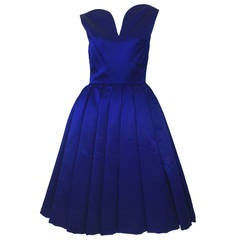 1950's Whitney for  Bonwit Teller Royal Blue Silk Satin Full Skirt  Party Dress