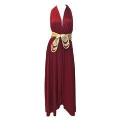 1970s Bill Tice Merlot & Gold Open Back Dress